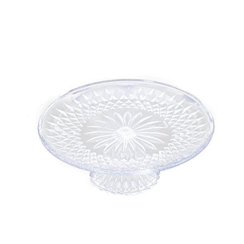 BESTONZON Plateaux de service rond en acrylique, plateaux transparent pour gâteaux - Dessert aux fruits - Plat de service avec embase solide 25 cm