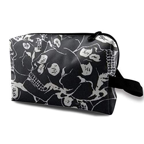 XCNGG Bolsa de almacenamiento de maquillaje de viaje, bolso de aseo portátil, pequeña bolsa organizadora de cosméticos para mujeres y hombres, cráneo craneal