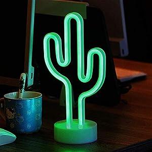 ENUOLI Green Cactus señales de neón con la base de LED de luz de neón de la batería USB 3-AA Desarrollado luz para Artículos de fiesta niñas de habitaciones Decoración de accesorios para regalos de d
