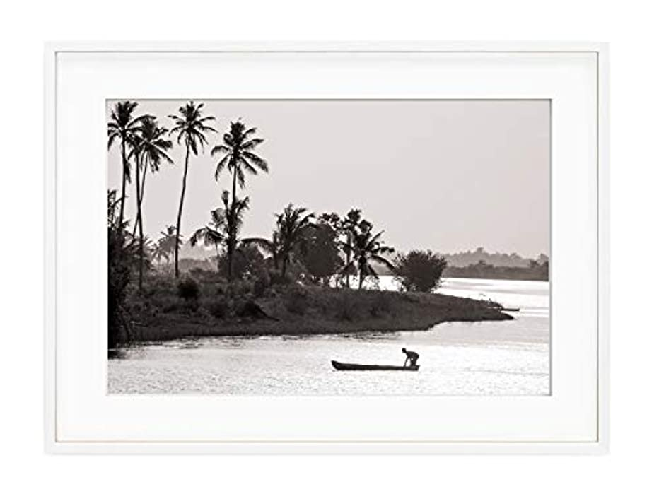 Lake Togo White Lacquer Wooden Frame with Mount, Multicolored, 30x40