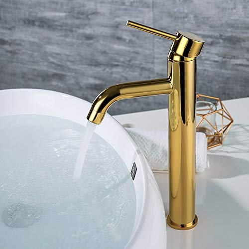 Grifo de la cocina Mezclador de agua de lavabo de oro cepillado Grifo de baño de montaje en cubierta Material de latón Grifo de agua fría y caliente negro mate y dorado