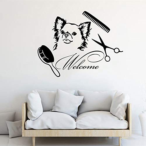 Bienvenue au salon pour animaux de compagnie pour animaux de compagnie lavage mural autocollant animalerie décoration décoration affiche de mode mignon murale 42 * 32 cm