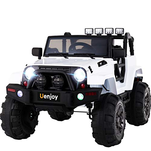 Uenjoy Ride on Car 12V Battery Power Children's Electric Cars Motorized Cars for Kids with Wheels Suspension,Remote Control, 3 Speeds, Head Lights,Music,Bluetooth Remote Controller,White