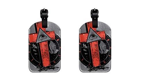 Lustige kofferanhänger Leder gepäckanhänger Kinder Kreuzfahrt farbige Initiale Kofferanhänger Set Halter für Taschen Kunst-Augen 7x11.4cm