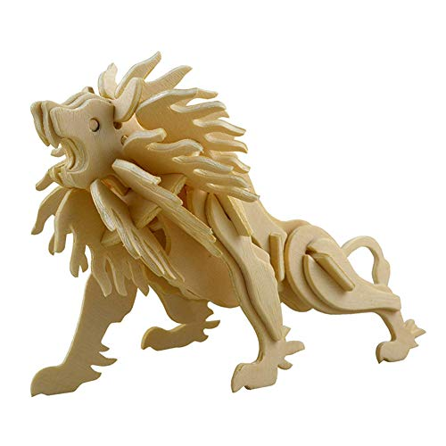 Lumanuby 1x Lion 3D Puzzle Toy Made of Wood Model Making Kits Laser-Cut for Adults and Children Table Decoration for Home or Office Gift for Craft Lovers Size 15.6 x 6.5 x 11 cm