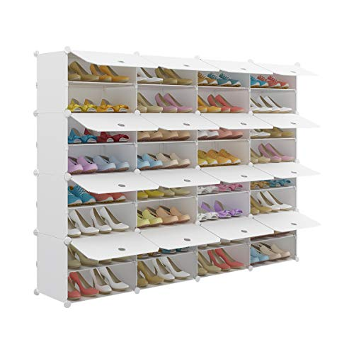 KOUSI Portable Shoe Rack Organizer 32 Grids Tower Shelf Storage Cabinet Stand Expandable for Heels Boots Slippers White