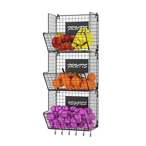 Miyili 3-Tier Wall Mounted Hanging Wire Baskets with Hanging S-Hooks Chalkboards, Rustic Kitchen Fruit Produce Bin Rack Bathroom Tower Baskets (Black)
