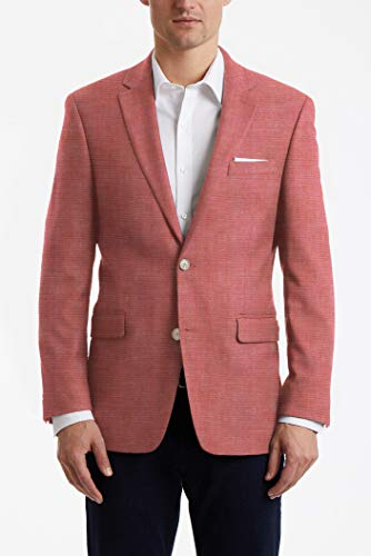 Tommy Hilfiger Men's Modern Fit Stretch Comfort Blazer, red Chambray, 40S