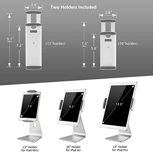 AboveTEK Eleganter Tablet Stand, Aluminium iPad Stand Halter, Desktop Kiosk POS Ständer für 7-13 Zoll iPad Pro Air Mini Galaxy Tab Nexus, Tablet Halterung für Store Showcase Büro Rezeption Küche
