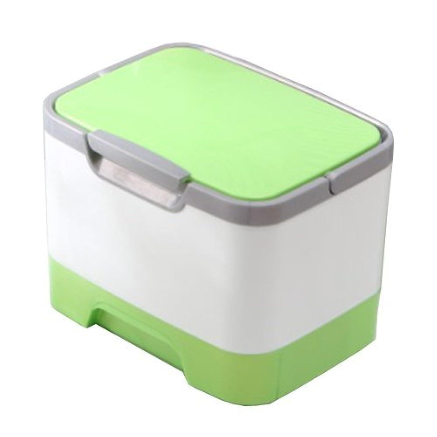 ブームライセンス小麦メイクボックス 大容量 かわいい 鏡付き プロも納得 コスメの収納に (ピンク、ブルー、グリーン)