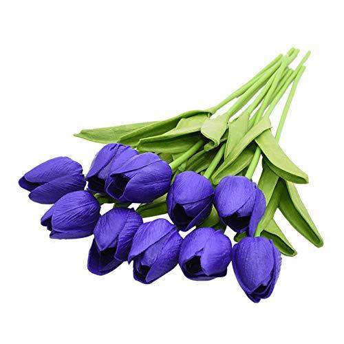 SSLBOO - Planta para decoración de ramos de flores de boda, 5/10/20/30 unidades, tulipanes artificiales, bonsái, tulipanes de espuma, azul real, 10 piezas