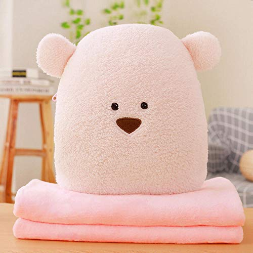 Cartoon anime plus velvet blanket sofa pillow quilt dual purpose square pillow@Powder bean bear_Three in one (with small blanket 0.8 * 1 m)
