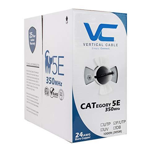 Vertical Cable CAT5E, Shielded Dual Jacket, Direct Burial, 1000ft, Black, Bulk Ethernet Cable