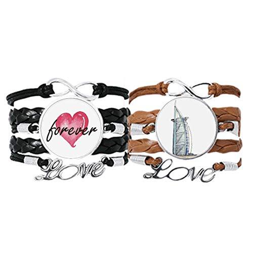 Bestchong Burj al-Arab Luxury Hotel Dubai Pulsera de mano Correa de cuero cuerda Forever Love Wristband Set doble