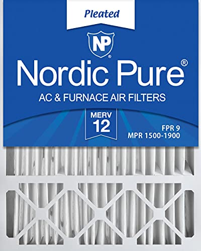 Nordic Pure 20x25x5 MERV 12 Pleated Honeywell Replacement AC Furnace Air Filters 2 Pack