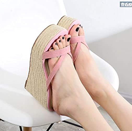 AWXJX Saison d'été Tongs Femme Chaussures Pente à fond épais toe Clip imperméable haut talon antidérapant piscine