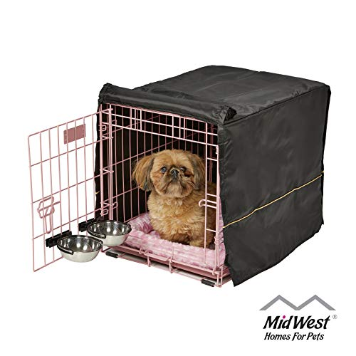 Pink Dog Crate Starter Kit | 24-Inch Dog Crate Kit Ideal for Small Dogs Weighing 13-25 Pounds | Includes 1 - Door Dog Crate, Pet Bed, 2 Dog Bowls & Crate Cover | 1-Year Midwest Quality Guarantee Basic Crates