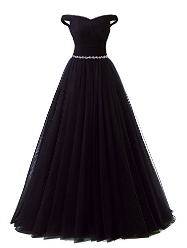 APXPF Women's Long Tulle Crystal Formal Prom Dress Quinceanera Dress Ball Gown