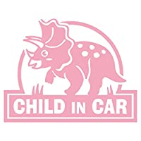 imoninn CHILD in car ステッカー 【シンプル版】 No.72 トリケラトプスさん (ピンク色)