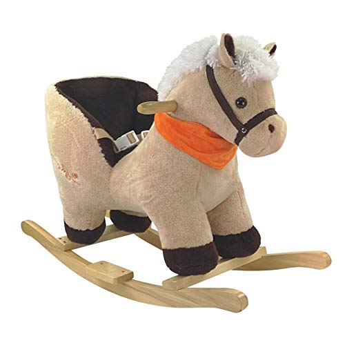 BIECO 74000422 - Plush rocking animal horse pompom, swing chair with wooden frame, seat and backrest, swing plush toy, rocking horse for babies and infants from 9m +