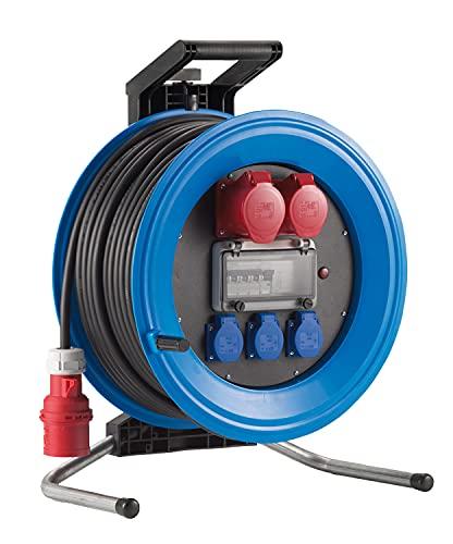 HEDI Carrete alargador de cable 33 m Professional Plus 450 (con 1 enchufe CEE 5x16 A 400 V, 3 tomas de contacto de 250 V, interruptor termortero/RCD) K4333011I4, multicolor