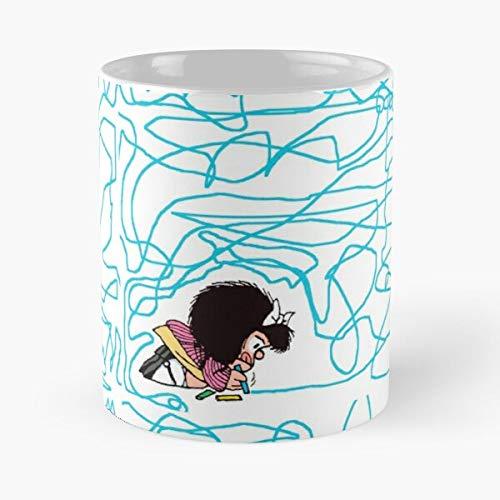 Mafalda Drawing - Lápices de café de cerámica blanca de 11 onzas para hombres, mujeres, niños, niñas, etc.