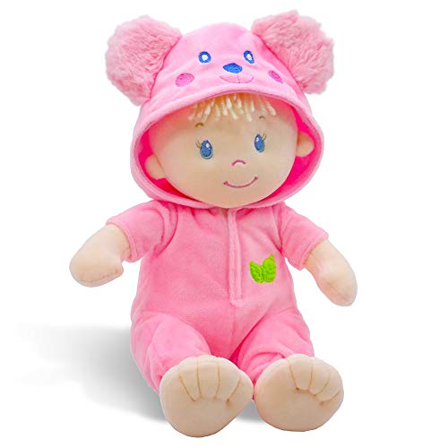 "June Garden 10"" Sweet Dolly Frida - Stuffed Ultra Soft Baby Bear Doll for Birth and Up - Removable Pink Outfit"