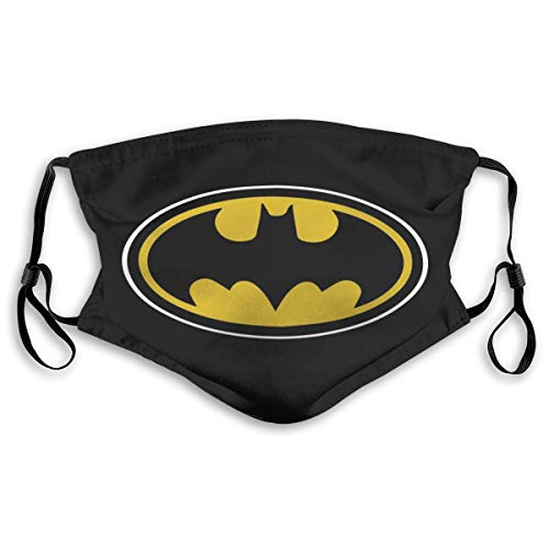 Bat-Man Pattern Face Cover/Shield for Adult Polyester Dust-Proof Waterproof Breathable Washable Reusable Outdoors for Running, Traveling, Climbing and Daily Use 7.9x5.9inch Black