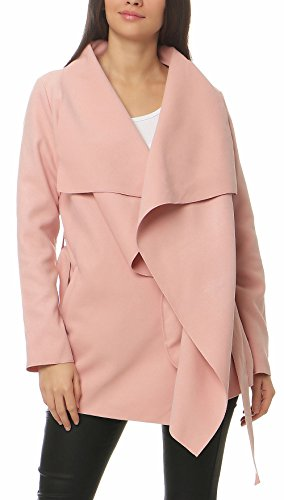 Malito Damen Mantel kurz mit Wasserfall-Schnitt   Trenchcoat mit Gürtel   weicher Dufflecoat   Parka - Jacke 3041 (rosa)