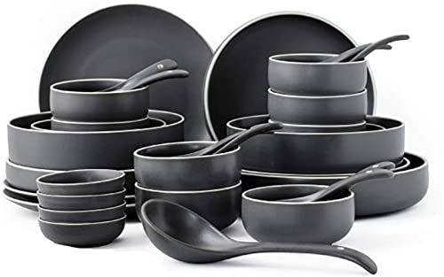 ZRB Juego de Platos, Conjunto de Platos de cerámica de tazón de Sopa, Conjunto de Placas de tazones, 32- Pieza de Juego de vajillas, Adecuado para Banquetes Familiares, certificación