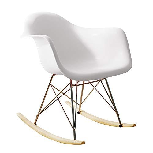 MOMIN Sillón Mecedora Living Room Chair Salón Rocker Cómodo Relax Silla De Oscilación De La Silla De Salón Silla Relax (Color : Blanco, tamaño : 67.5x68x52cm)
