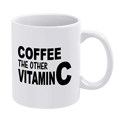 Coffee Vitamin C Funny Coffee Mug Cup, 11oz Ceramic Mug Tea Beverage Mug for Home & Office,Birthday,Anniversary,Halloween,Christmas,Valentine's Day Present idea.