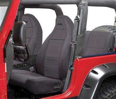 Coverking Front 50/50 Bucket Custom Fit Seat Cover for Select Jeep Wrangler TJ Models - Neoprene (Black)
