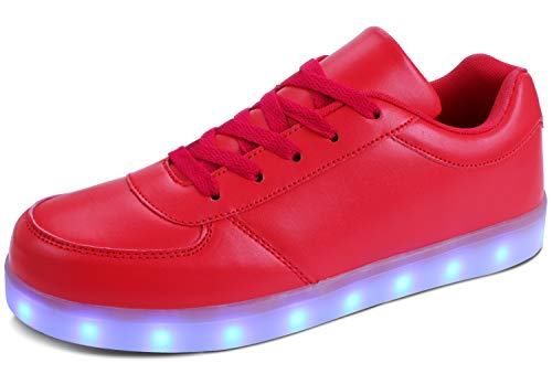 MILEADER USB Charging Sneakers LED Shoes for Adult, Red Light Up Shoes with Remote Control for Women and Men, 7 Colors Unisex USB Flashing Sneakers - 40