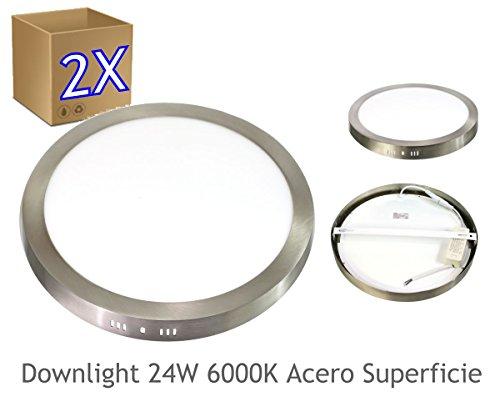 JANDEI - 2x Downlight LED 24W Redondo De Superficie Luz Blanca Neutra 4000K, Aluminio Aro Acero Mate