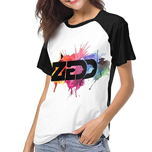 fenglinghua Frauen Kurzarm T-Shirt Zedd Women Raglan Short Sleeve Casual Print T-Shirts Baseball Blouses Unique Design top