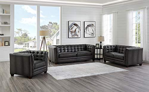 Hydeline Bangor 100% Leather Sofa, Loveseat and Chair Set, Dark Gray