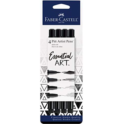 Faber-Castell Pitt Artist Pens Essential Set - 4 Black Markers, Variety of Nibs
