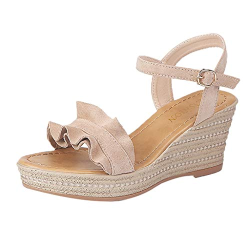 Women Gladiator Wedges Sandals,Girls Summer Peep Toe Casual Waterproof Platform Muffin Ankle-strap Shoes