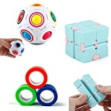 Nice-live 3 Packs Fidget Toys Set - Magic Rainbow Puzzle Ball, Infinity Cube, Magnetic Rings -Anxiety Stress Relief Sensory Hand Toys Best Gift for Kids Preschooler Primary School Teens and Adults