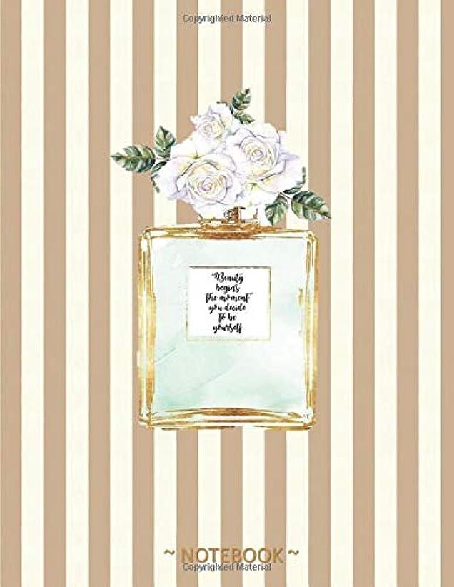 市区町村繊毛偽物BEAUTY BEGINS THE MOMENT YOU DECIDE TO BE YOURSELF: Coco Chanel Quote -  Golden strips & perfume bottle - College classic Ruled Pages Book (8.5 x 11) Large Lined Journal Composition Notebook to write in (Positive Vibrations)