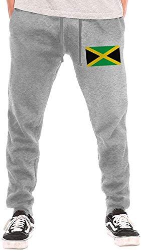 ishengx Jogginghose Herren Flag of Jamaica Drawstring Waist,100% Cotton,Elastic Waist Cuffed,Jogger Sweatpants