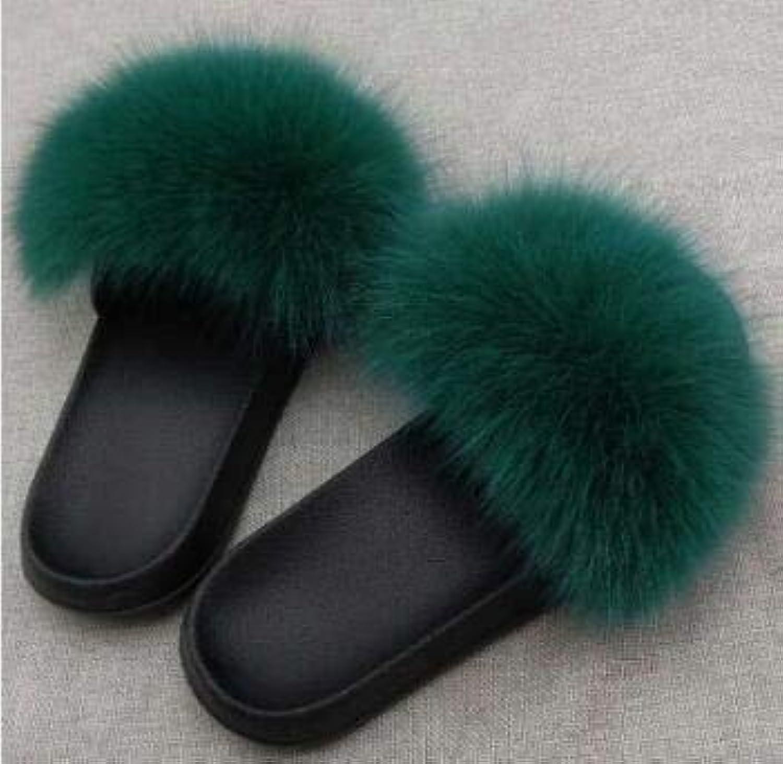 Real Fox Hair Women Ladies Cute Plush Fluffy Fur Slippers Beach Flip Flops Sandals Summer shoes Comfy Green 6