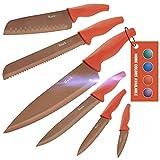 Wanbasion 6 Pezzi Set di Coltelli da Cucina Professionali Chef, Set Coltelli da Cucina Acciaio Inox,Set Coltelli da Cucina Alta qualità Cuoco Arancia