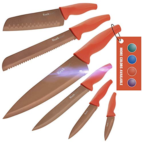 Wanbasion Profi Messer Set für Köche Hochwertig, Scharfe Messer Set Küche Edelstahl, Beste Küchen Messer Set Kochmesser Orange