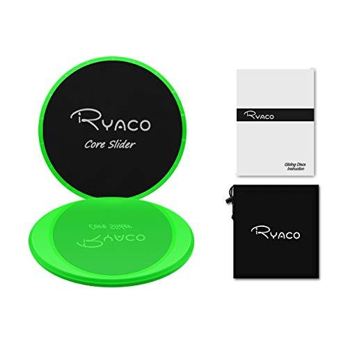 Ryaco 2X Discos Deslizantes para Fitness Abdominales con Bolsa de Transporte –Discos Doble Cara Deslizantes para Hogar, Yoga, Fitness, Pilates, Ejercicios de Cuerpo – Moquetas y Solería (Verde)