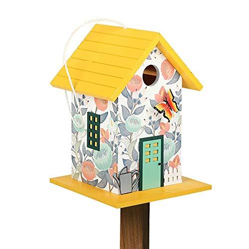 HWLL Comedero para pájaros Hermoso Comedero para Pájaros de Pie con Barra de Madera, Caja de Comida para Pájaros con Aleros Triangulares para Decoración de Jardín (Color : Yellow)