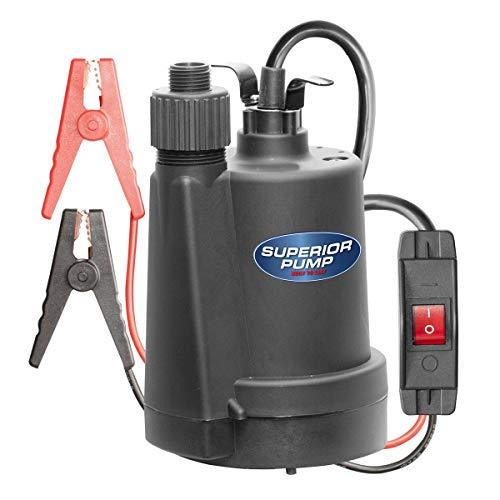 Superior Pump 91012 12 Volt Utility Pump with 20-Foot Cord, Black