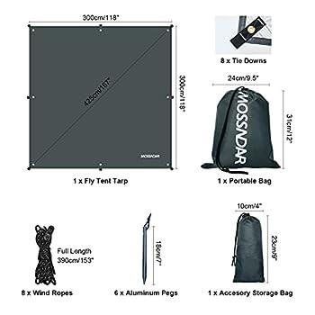MOSSNDAR Bâche Anti-Pluie, Tarp Rain Fly Toile de Tente 3 X 3M, UV 50+ Imperméable Abri de Randonnée Pliable Léger à l'eau, avec 8 Cordes Bâche de Tente pour Camping et la Protection Contre la Pluie