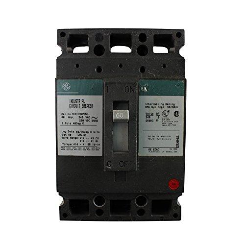 GE TEB132060WL Industrial Circuit Breaker, 60-Amp, 240VAC, 3-Pole, TEB